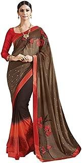 RajRajeshwari Women's Brown And Red Color Designer Chiffon Saree