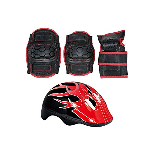 Wzmdd Kinder beschermende uitrusting set -6 in 1 knie pads set elleboog pad pols helm, geschikt voor skateboarden, inline skaten, fietsen, kinderen/tieners, blauw, M