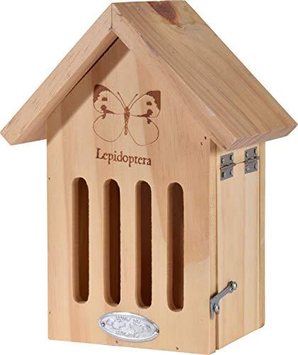 dobar 22711e Kleines Schmetterlingshaus Lepidoptera, Insektenhotel zum Aufhängen, 17 x 12 x 22,5, Natur