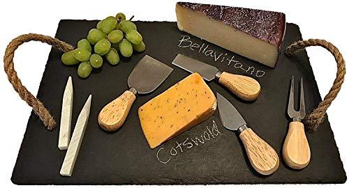 Schiefer-Käsebrett und 4-teiliges Messer-Set – Charcuterie-Board, Fleisch-Servierbrett – Bambusgriff Käsemesser – inkl. Speckstein-Kreide – Seilgriffe – langlebig, strapazierfähig