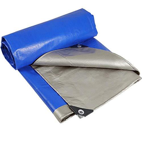 YCSD Cubierta De Lona Impermeable De Alta Resistencia con Ojales para Muebles De Jardín, Aparador, Trampolín, Madera, Automóvil, Camping O Jardinería - 0,32 Mm, 160 G/M², Azul Plateado(Size:6X6m)