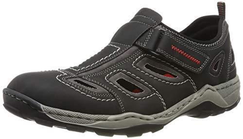 Rieker Herren 08075-01 Sneaker, Schwarz (Schwarz/Rauch 01), 45 EU