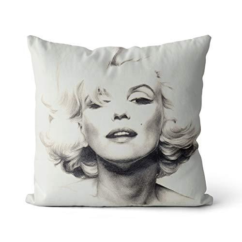 Remembrance Marilyn Monroe Funda de Almohada de Lino 50x50cm Actriz más Popular Marilyn Monroe Adecuado para Cama y sofá Funda de Almohada, sin Relleno