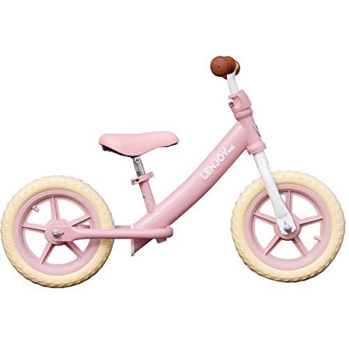 ペダルなし自転車 LENJOY [S100-12] バランス キック バイク ランニングバイク トレーニング 子供用自転車 自転車 軽量 キッズバイク かっこいい かわいい 保育園 幼稚園 幼児 2歳 3歳 4歳 5歳 男の子にも女の子にも (パステルピン
