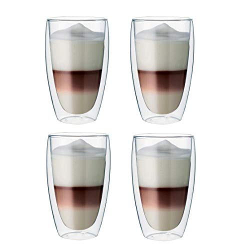 Maxxo Vasos de Doble Pared Late Macchiato 4X 380 ml Copas de...