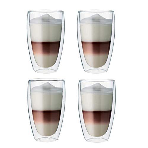 Maxxo Doppelwandige Gläser Latte Macchiato Set 4X 380 ML Kaffee Thermogläser mit Schwebe-Effekt beständige Kaffeegläser