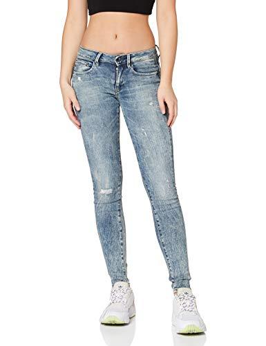G-STAR RAW Damen Midge Zip Mid Waist Skinny Jeans, Blau (Lt Vintage Aged Destroy 8969-9114), 27W / 32L