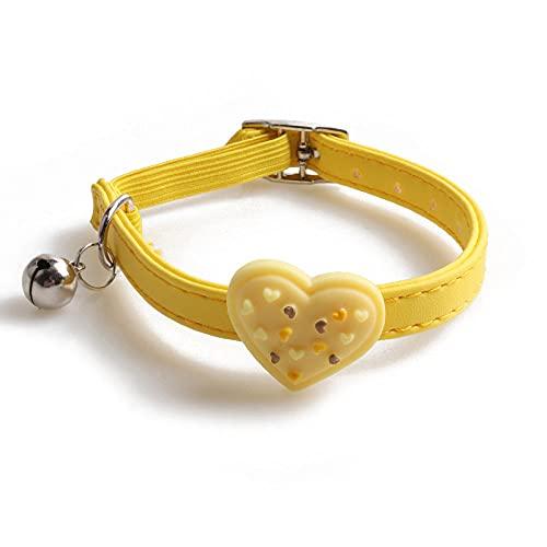 Collar de Gato Corazón Donuts PU Gato Perro pequeño Collar de Hebilla de Metal Collar Elegante Collar de Perro Collar de Gatito Mascota Cachorro Accesorios para Gatos, 7