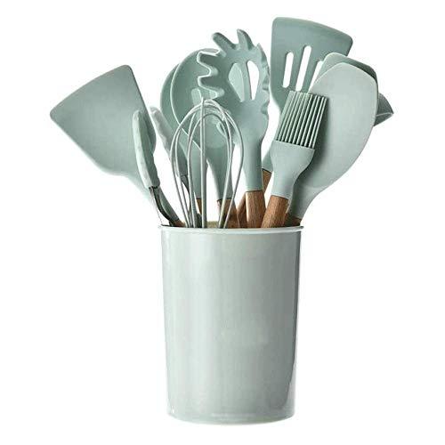 BBGSFDC Lagerfässer frischer grüner Silikon-Küchengeschirr 11-teiliger N-Stick-Spatel-Küchengeschirr-Set