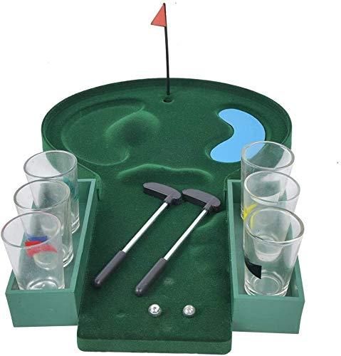 Nologo Table Golf Schnapsglas Trinkspiel Neuheiten Table Top Golf-Spiel for Party Familiengruppe Unterhaltung, die Neuheit-Geschenk, Grün