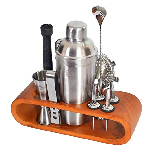 Taluka Stainless Steel Bar Set for Drink Mixing Bar Tools: Cocktail Shaker, Jigger, Strainer, Bar Mixer Spoon, Ice Tongs, Bottle Opener, Pourer, Muddler, Joint Less Wooden Stand (Plain)