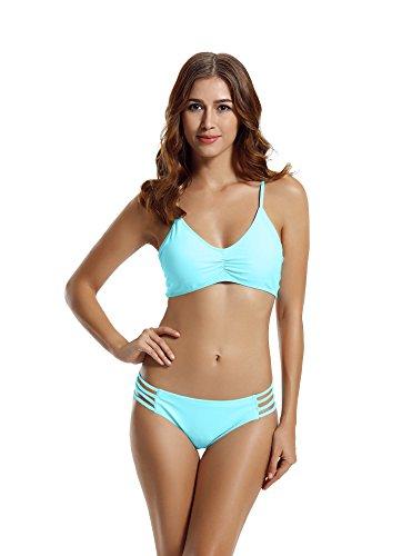 zeraca Women's Strap Side Bottom Halter Racerback Bikini Bathing Suits (XS2, Aqua Sky)