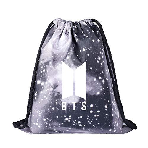 GOTH Perhk KPOP BTS Bangtan Boy Galaxy Kordelzug Rucksack Starry BTS New Logo Sporttasche Umhängetasche(H06)