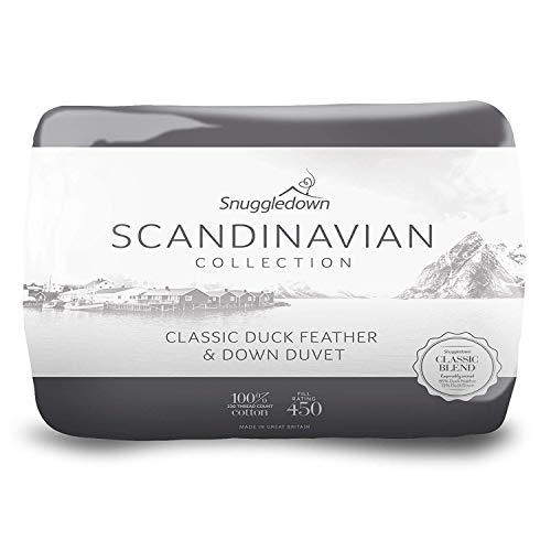 Snuggledown - Edredón nórdico de Pluma y plumón de Pato escandinavo, Algodón, Blanco, 230.0 x 220.0 cm