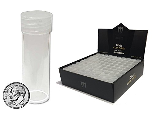 (10) Individual NEW Round Ultra Clear PREMIUM Plastic DIME Coin Tubes with Screw On Caps by Max Pro Coin Supplies