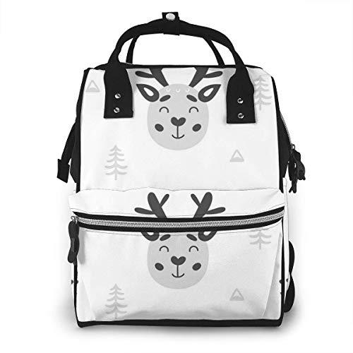 Sac à langer de grande capacité, étanche, sac de remplacement pour soins de bébé, polyvalent élégant et durable, convient pour maman et papa (tête d'élan à Noël)