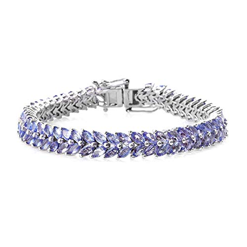 Dual Line Platinum Plated 16.5 Cts Marquise Cut Tanzanite Gemstone 925 Sterling Silver Tennis Bracelet Gift for Wedding
