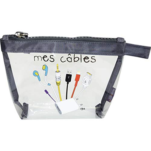 Incidence Paris 60055 Trousse de Rangement Krystal Mes câbles Transparent et Gris PVC et Nylon Fermeture Zip, 19 cm, Transparent