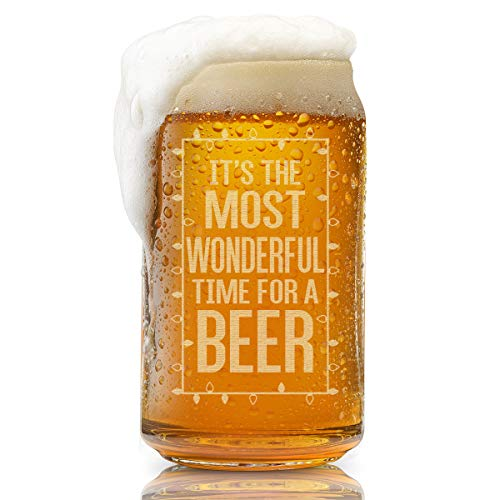 Beer Can GlassIt#039s The Most Wonderful Time For A BeerFunny Christmas Present for Men and Women