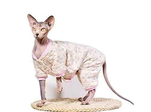Khemn Designer Warme Katze Pyjama Katze Pullover mit Dicke Baumwolle Haarlose Katze, 5 Farben (M, Häschen)