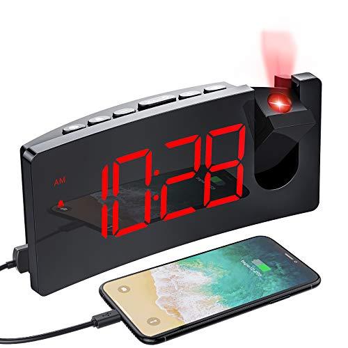 Mpow Despertador Proyector, Reloj Despertador Digital Con Puerto USB, 4 Brillo De Proyección Y Display, Pantalla LED De 5'', Números Rojos Ultra Clara, Fácil De Usar, Snooze (Incluido El Adaptador)
