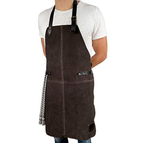 REDSALT® Lederschürze aus weichem 100% Büffel Wild Leder, 84x62cm BBQ Grillschürze, Zubehör für die Outdoor Küche, Gastronomie, Bar, Barista, als Kochschürze oder Küchenschürze | Geschenke für Männer