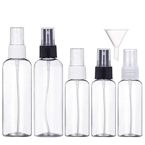 Bottiglie Spray Trasparente Plastic Fine Nebbia Bottiglia Set da Viaggio,5 Pezzi (100 ML/50ML)