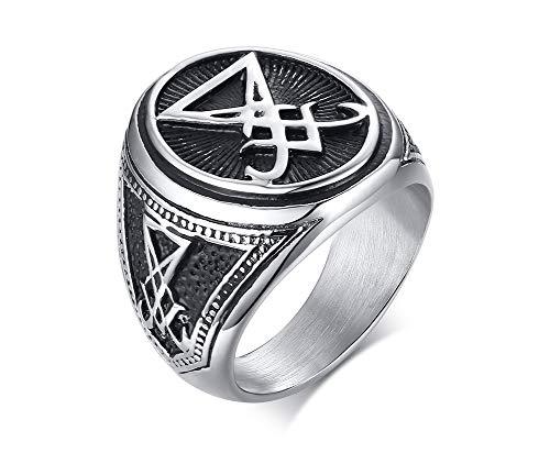XUANPAI Siegel von Luzifer Siegel des Satans Symbol Siegelring Band für Männer Jungen, Talisman Amulett Schmuck, Größe 67