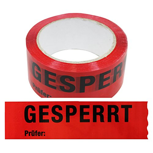 1 Rolle Klebeband Gesperrt, Prüfer: 50 mm x 66 lfm Absperrband Paketband Packband Warnband Hinweisklebeband