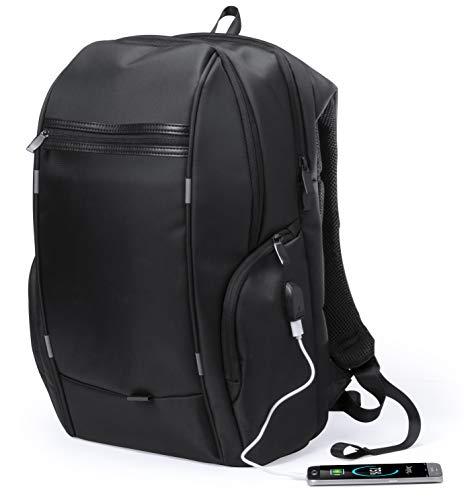 MKTOSASA - Mochila Resistente al Agua en Nylon Compartimento Acolchado para Portátil, Bolsillo Trasero Antirrobo, Conexión USB, Multitud de Compartimentos y Acolchado Ergonómico