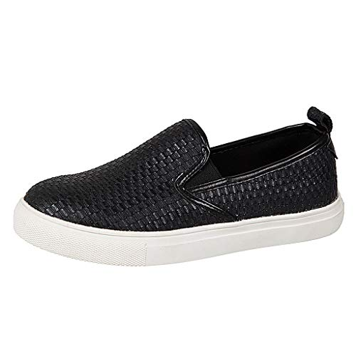 Damen Slip-On Sneaker Weich Flache Plateau Loafer mit Leopardenmuster, Frauen Mokassins Low Top Bequeme Halbschuhe Leicht Atmungsaktive Slipper Freizeit Schuhe Celucke (Schwarz, 38 EU)