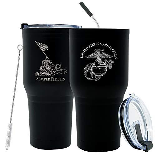 30 oz USMC Black Double Wall Vacuum Insulated Stainless Steel Marine Corps Tumbler Travel Mug-Leakproof Lid