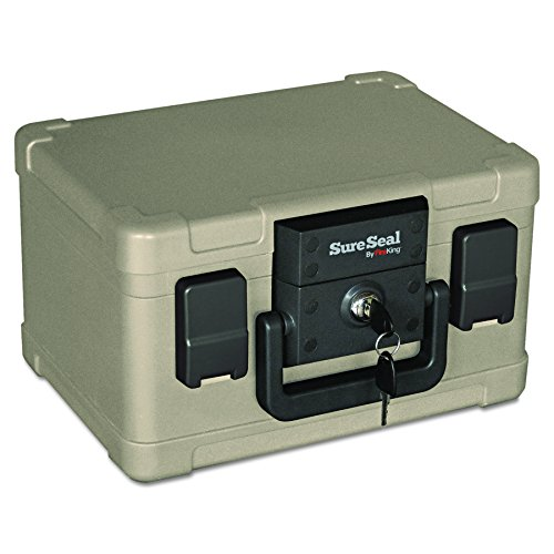SureSeal by FireKing SS102 1/2 Hour Fireproof/Waterproof Safe Chest, Fits #10 Envelopes, 0.15 CU FT Storage Capacity,Taupe