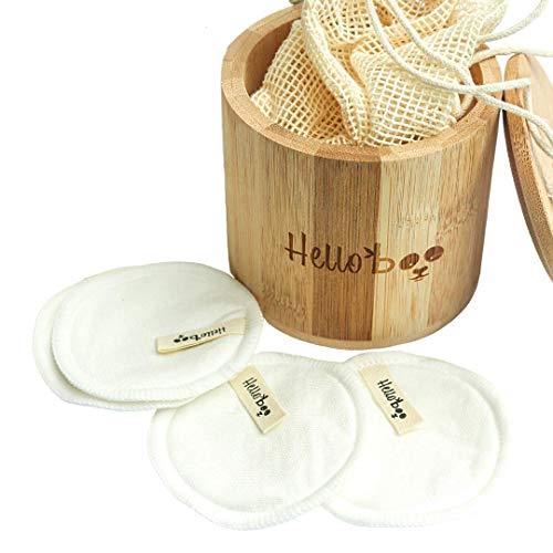 Coton démaquillant réutilisable | Paquet de 16 disques avec une boite en bambou et un sac de lavage en coton | Doux, écologique et réutilisable | Pour tous les types de peau et lavable en machine
