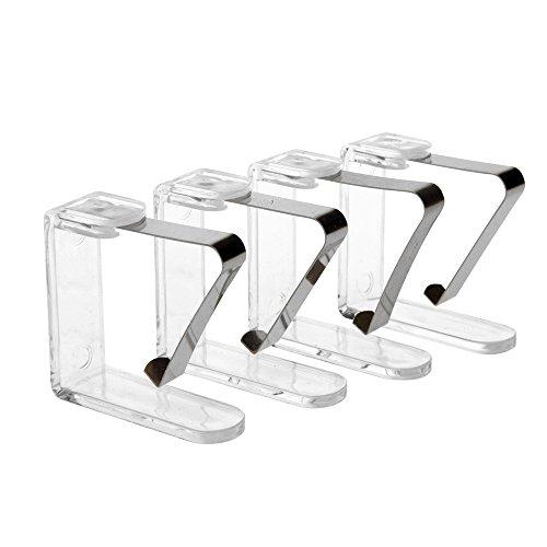 4er-Set Tischtuchklammern aus Metall mit Acrylmantel, transparent