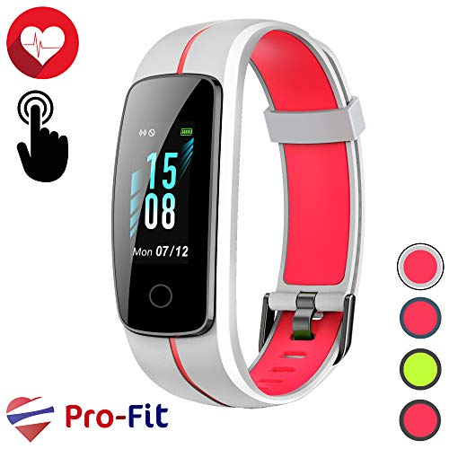Pro-Fit Touch VeryFitPro Fitness Tracker IP68 Waterproof Smart Watch Heart Rate Monitor Step Counter (ID107C) (White & Red)