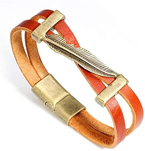 XiangRuiDa Pluma de Metal Vintage Estilo Simple para Hombre Pulsera de Cuero Anchos brazaletes de brazaletes-Marrón Claro Beautiful