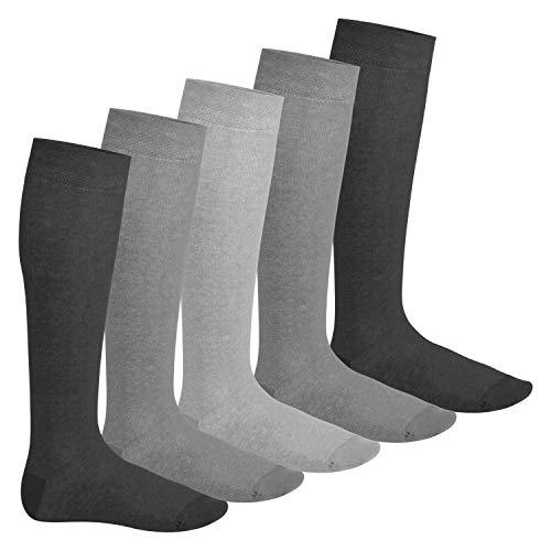 Footstar Herren und Damen Kniestrümpfe (5 Paar), Klassische Strümpfe aus Baumwolle - Everyday! - Classic Grey 39-42