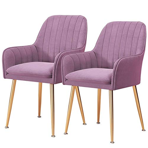 Dining Chair 2PCS Velvet Fabric Side Chair Arms Support Lounge Padded Chic Office Chair Soft Seat Gold Metal Legs (Color : Purple)
