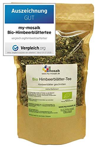 my-mosaik Bio Himbeerblättertee - 100% naturbelassen, geschnitten, ohne Zuckerzusatz, aus kontrolliert biologischem Anbau, abgefüllt in Deutschland (100g)
