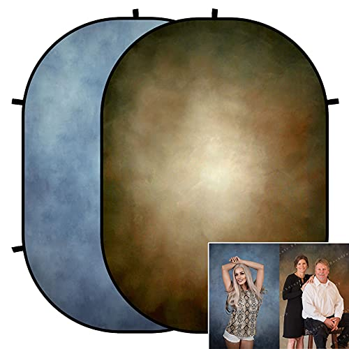 Kate 5x6.5ft(1.5x2m) Collapsible Backdrop Blue Brown Texture Folding Double Sided Backgrounds for Photo, Video Meetings, Live Streaming
