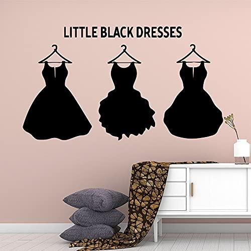 Artístico Little Black Dress Hanger Moda Mujer Niña Vestido Tienda de ropa Vinilo Etiqueta de la pared Calcomanía Dormitorio Sala de estar Tienda Estudio Decoración para el hogar Mural