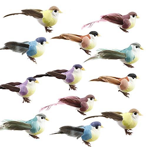 happyshop18 12Pcs Artificial Birds, Simulation Foam Feather Birds Mini Sparrow Ornaments for Craft Home Garden Wedding Decoration