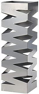 DRW Paraguero Metal Plateado 15.5X15.5X49 cm con Gancho Para Paraguas Pequeños