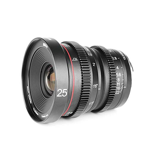 Meike 25mm T2.2 APS-C Groot diafragma Handleiding Focus Prime Low Distortion Mini Cine Lens Compatibel met Sony