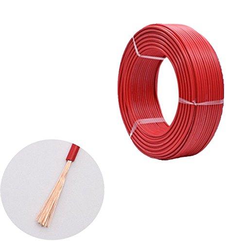 10Meter Fahrzeugleitung 12V 24V 1 Polig Anhängerleitung Anhängerkabel Auto Leitung Kabel Litze Draht Rund Rot / Schwarzes (Rot, 0.5mm 11Amps)