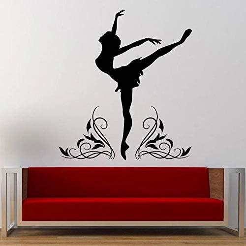 Adhesivo decorativo de vinilo para pared con silueta de bailarina de ballet