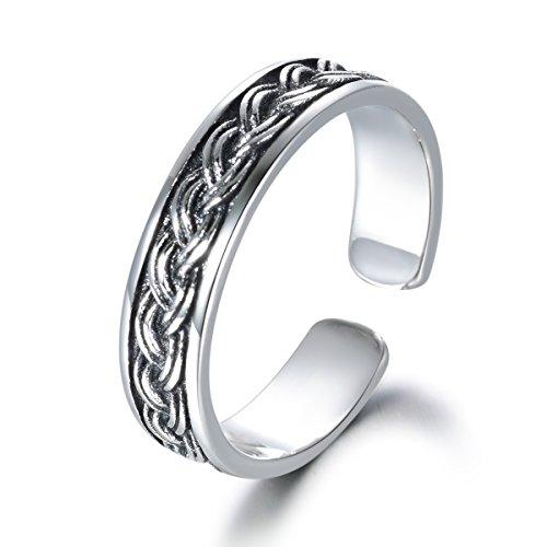 Guzhile Anillo de plata de ley 925 para el pulgar, nudo celta eterno, compromiso, boda, anillo de banda abierta ajustable para mujer, el mejor regalo