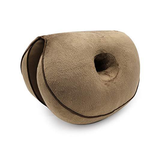 Niyregiy Multifunktionales doppeltes Komfort-Memory-Foam-Sitzkissen, Hüftliftkissen, Autositzzubehör, Plüsch und schönes Hüftkissen, halbgefaltetes Kissenkissen Kaffee