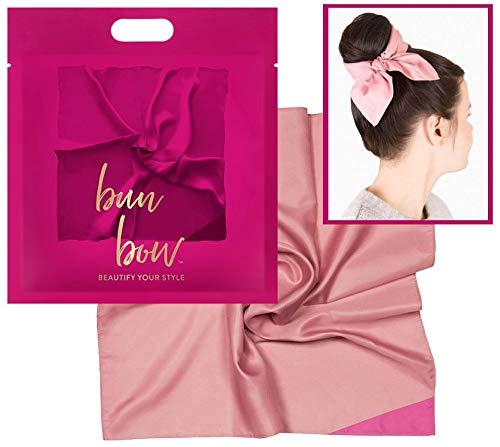 Pony Puffin Haartuch - Bun Bow Rosa Kopfband Nickituch Schleifentuch Seidenmatte Optik 50 x 50 cm Bandana Seidentuch